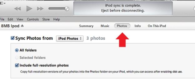 ipod photo tab