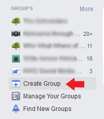 Create Group side panel
