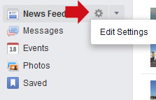 Newsfeed Settings Gear