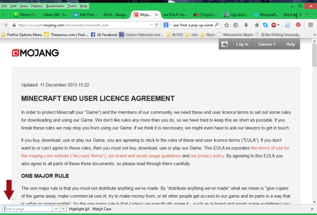 EULA in Browser Window