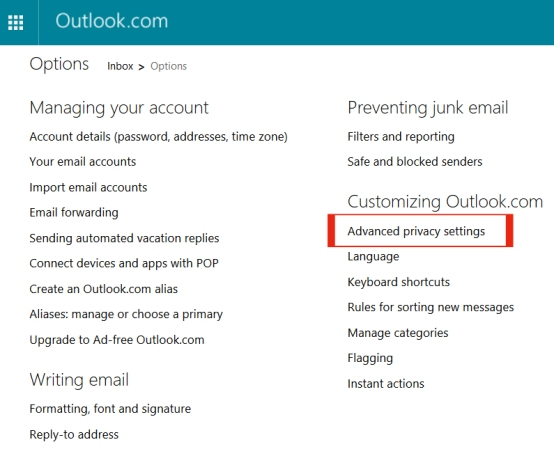 Outlook Advanced Privacy settings