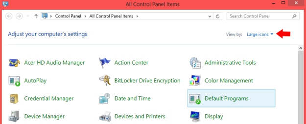 Control panel- default programs