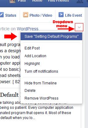 Save post dropdown