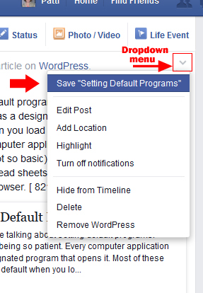 Save post dropdown