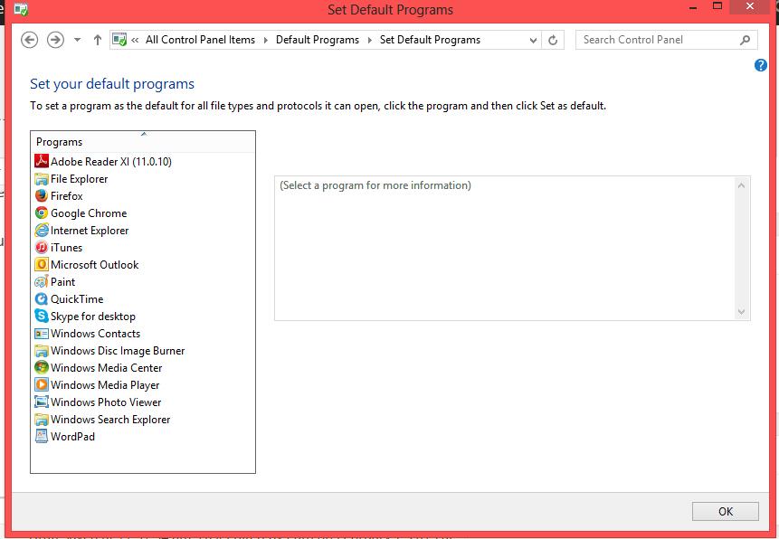Set your default Programs screen
