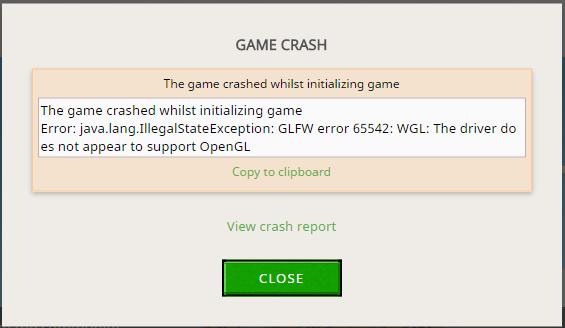 Minecraft crash window