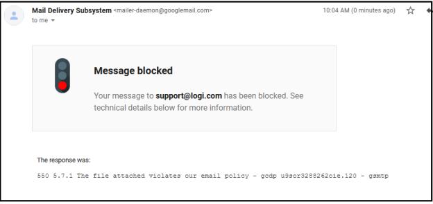 Error sending photos to Logitech